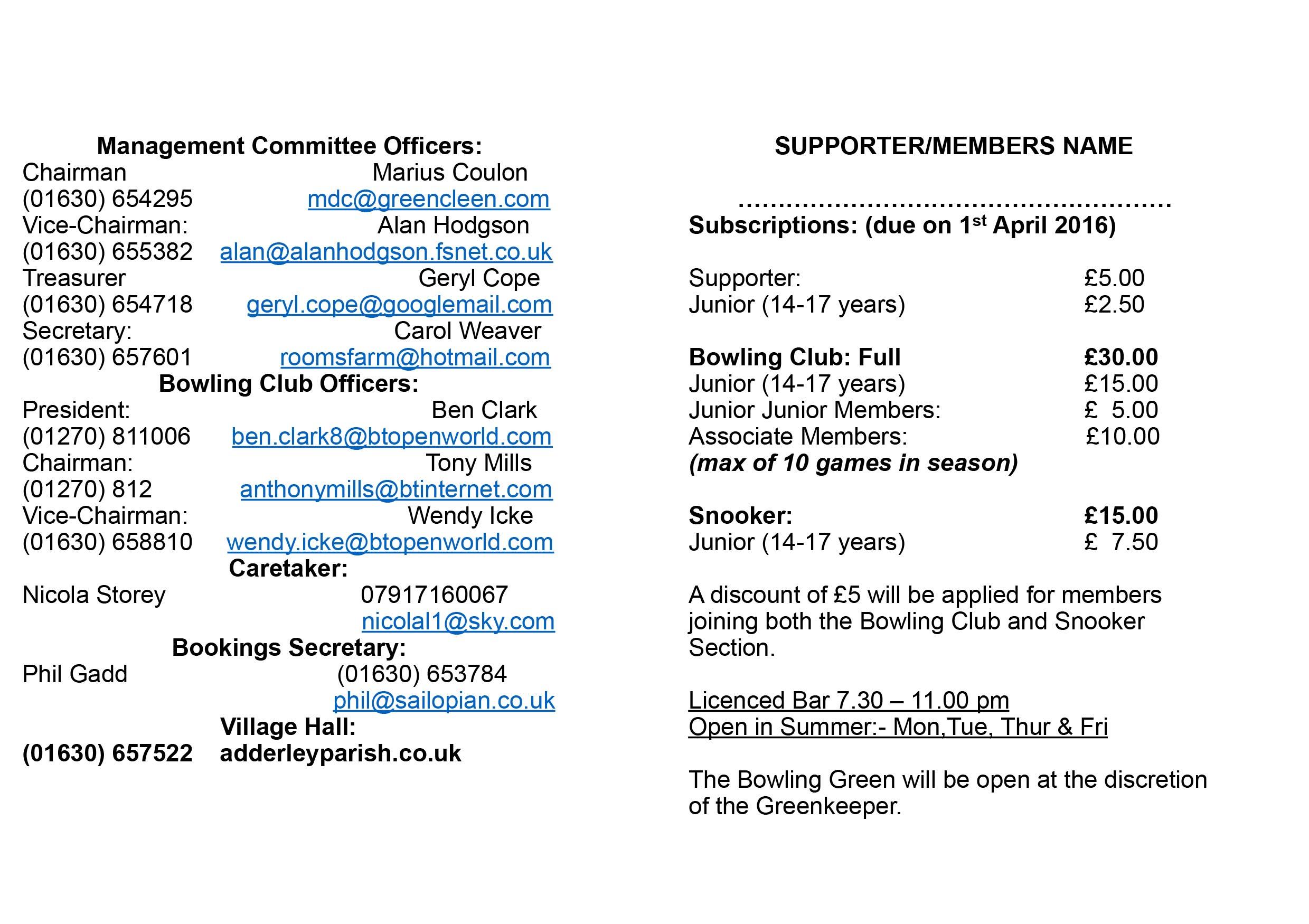 Village Hall Membership Card